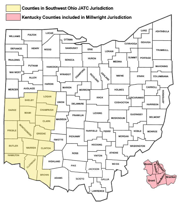 Southwestern Ohio Map.Ohio Carpenters Joint Apprenticeship And Training Program About